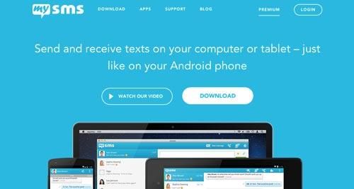 Ejemplos de sitios web que hacen uso del color azul: MySMS