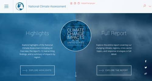 Ejemplos de sitios web que hacen uso del color azul: National Climate Assessment