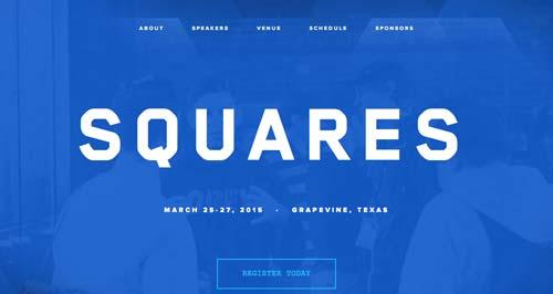 Ejemplos de sitios web que hacen uso del color azul: Squares Conference