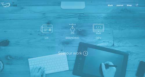 Ejemplos de sitios web que hacen uso del color azul: Underbelly Creative