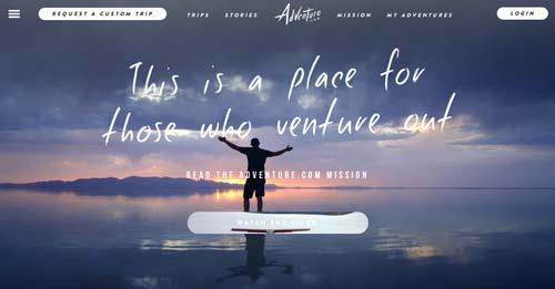 Ejemplos de paginas web que hacen buen uso de imágenes en gran tamaño: Adventure