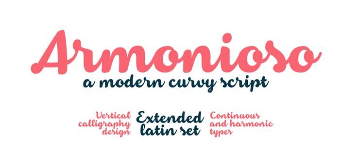 Fuentes caligraficas gratuitas para tus diseños: Armonioso