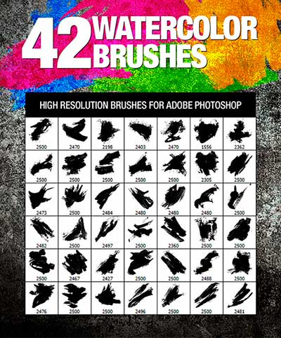 Pinceles Photoshop gratuitos con efecto de acuarela: 42 Watercolor Brushes