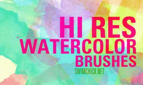 Pinceles Photoshop gratuitos con efecto de acuarela: Free Hi Res Watercolor Brushes