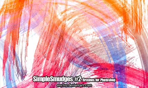 Pinceles Photoshop gratuitos con efecto de acuarela: SimpleSmudges 2 Brushes Pack