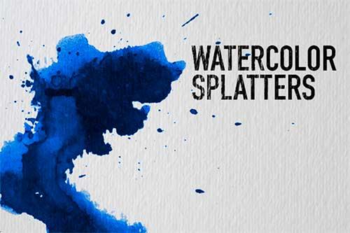 Pinceles Photoshop gratuitos con efecto de acuarela: Watercolor Splatters