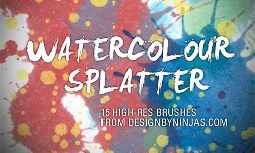 Pinceles Photoshop gratuitos con efecto de acuarela: Watercolour Splatter
