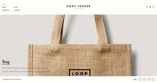Temas WordPress adaptativos para portafolios online: Andy Parker