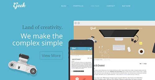 Temas WordPress adaptativos para portafolios online: Geek