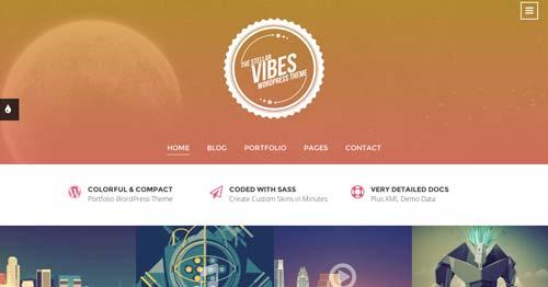 Temas WordPress adaptativos para portafolios online: Vibes