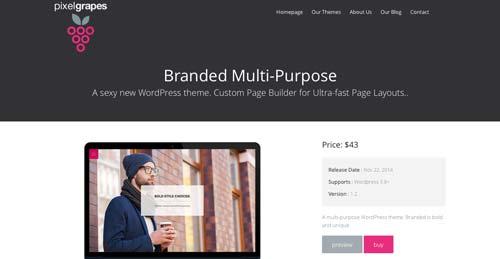 Temas WordPress flexibles para crear y personlizar tu sitio desde cero: Branded