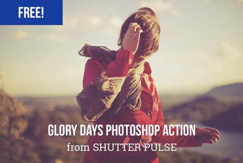 Acciones Photoshop gratuitas para añadir diversos efectos a tus fotos: Glory Days Photoshop Action