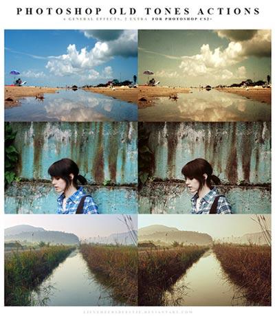 Acciones Photoshop gratuitas para añadir diversos efectos a tus fotos: Photoshop Old tones Actions