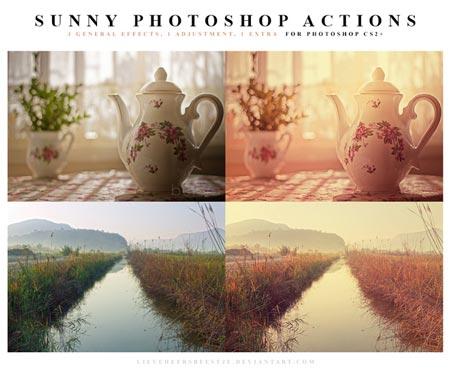 Acciones Photoshop gratuitas para añadir diversos efectos a tus fotos: Sunny Photoshop Actions