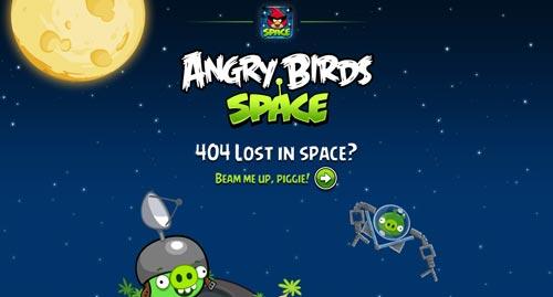 Ejemplos de paginas web creativas que presentan error 404: Angry Birds Space