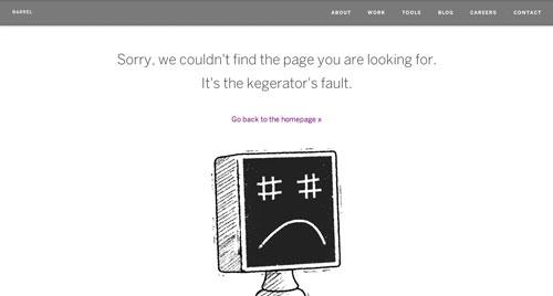 Ejemplos de paginas web creativas que presentan error 404: Barrel