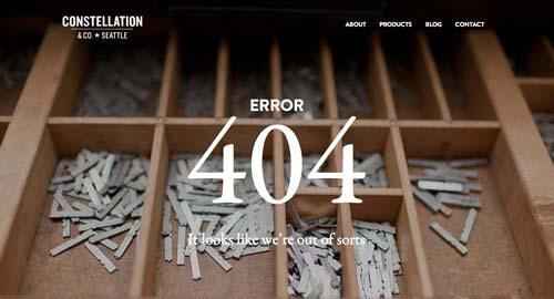 Ejemplos de paginas web creativas que presentan error 404: Constellation & Co.