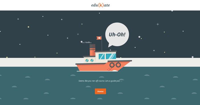 Ejemplos de paginas web creativas que presentan error 404: Edukate