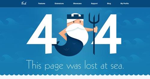 Ejemplos de paginas web creativas que presentan error 404: Fork CMS