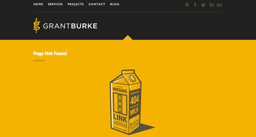 Ejemplos de paginas web creativas que presentan error 404: Grant Burke