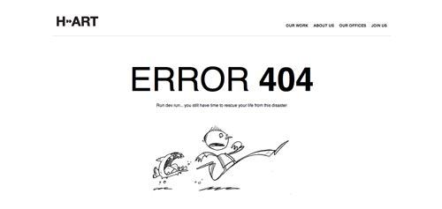 Ejemplos de paginas web creativas que presentan error 404: H-Art
