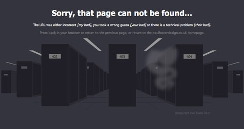 Ejemplos de paginas web creativas que presentan error 404: Paul Foster Design