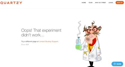 Ejemplos de paginas web creativas que presentan error 404: Quartzy