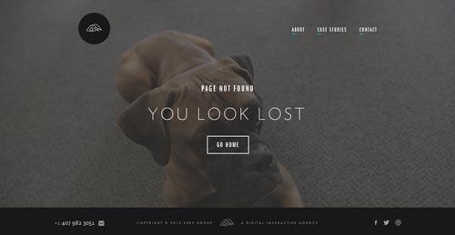 Ejemplos de paginas web creativas que presentan error 404: Spry Group
