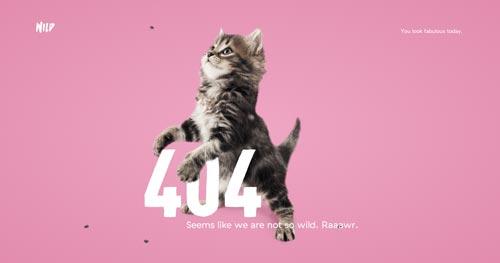 Ejemplos de paginas web creativas que presentan error 404: Wild