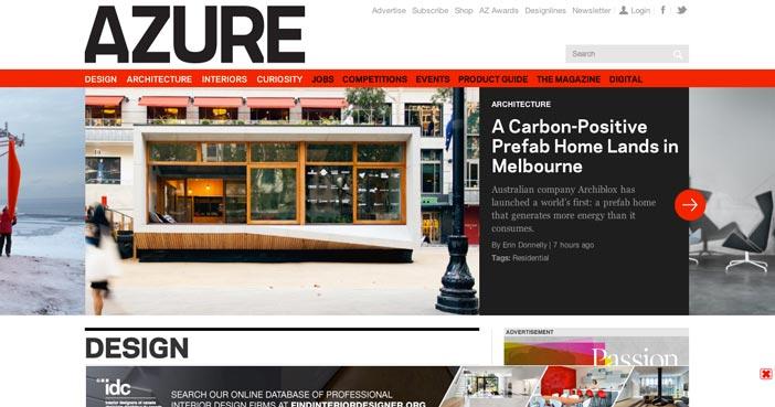 Ejemplos de paginas web de revistas y diarios online: Azure Magazine