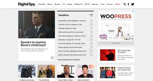 Ejemplos de paginas web de revistas y diarios online: Digital Spy
