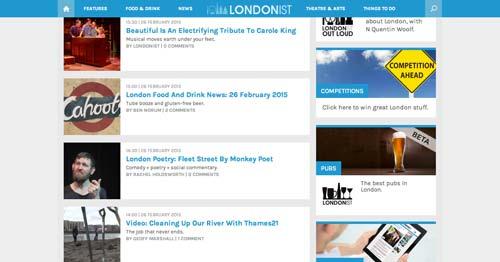 Ejemplos de paginas web de revistas y diarios online: Londonist