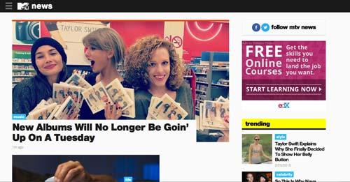 Ejemplos de paginas web de revistas y diarios online: MTV News