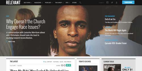 Ejemplos de paginas web de revistas y diarios online: Relevant Magazine