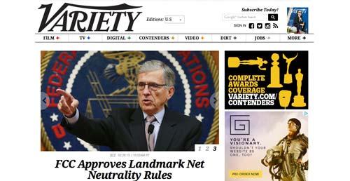 Ejemplos de paginas web de revistas y diarios online: Variety
