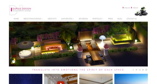 Ejemplos de paginas web de agencias de diseño de interiores: Dupuis Design