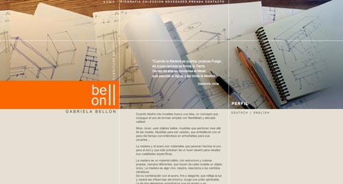 Ejemplos de paginas web de agencias de diseño de interiores: Gabriela Bellon