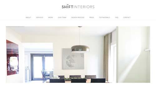 Ejemplos de paginas web de agencias de diseño de interiores: Shift Interiors