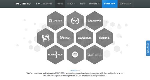 Ejemplos de paginas web que presentan testimonios: PSD2HTML