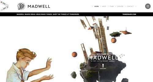 Ejemplos de paginas web que hacen uso del parallax scrolling: Madwell