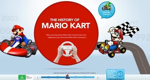Ejemplos de paginas web que hacen uso del parallax scrolling: Mario Kart Wii Experience