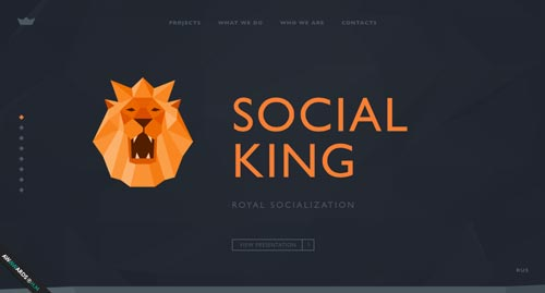 Ejemplos de paginas web que hacen uso del parallax scrolling: Social King