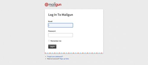Ejemplos de formularios web de acceso: Mailgun