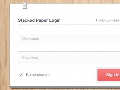 Ejemplos de formularios web de acceso: Stacked Paper