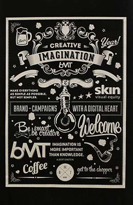 Ejemplos de letterings trabajados con tiza: BMT London Chalk Wall