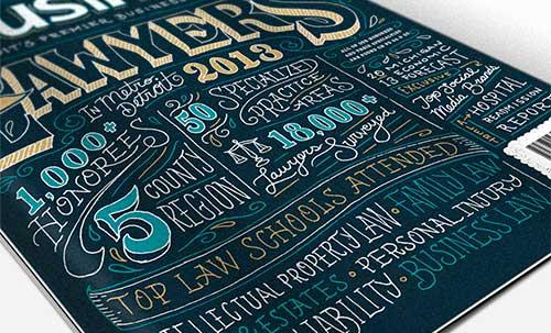 Ejemplos de letterings trabajados con tiza: DBusiness Magazine