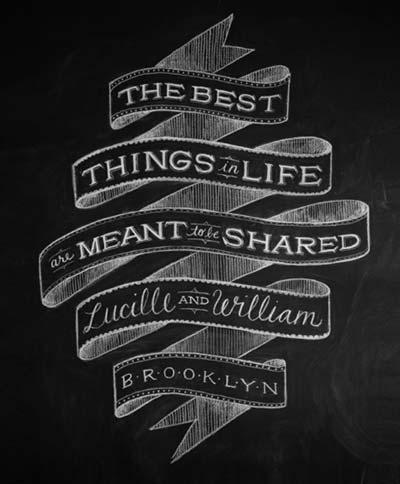 Ejemplos de letterings trabajados con tiza: Lucille + William