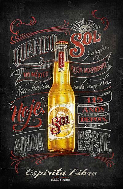Ejemplos de letterings trabajados con tiza: SOL Beer