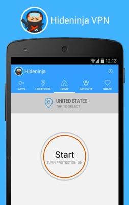 Programas para Android para navegar usando VPN: Hideninja VPN
