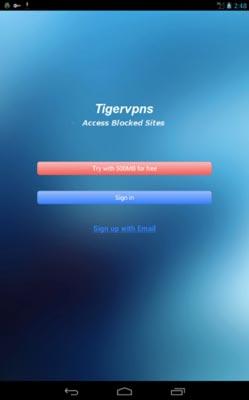 Programas para Android para navegar usando VPN: Tigervpns